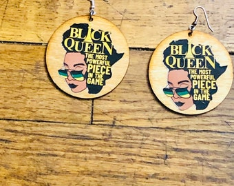 African Queen Wood Earrings, Africa  Wood Earrings,Queen Nefertiti Earrings,  Natural Hair Earrings Free Shipping Sterling Silver Hooks