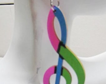 Music is the Answer Afrocentric Wood Earring Wood  Hoop Earrings, Hoop Earrings, Dangle Earrings, Ethnic Earrings,