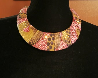 African print ankara fabric jewelry brown cream gold Cuff Necklace,and Earring