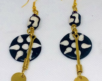 Kenyan Bone & Brass Earrings ,African Earrings,Brass Earrings,Tribal  Dangle Earrings