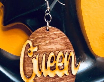 Afrocentric Wood Earring Wood Queen  Hoop Earrings, Hoop Earrings, Post Earrings, Ethnic Earrings,