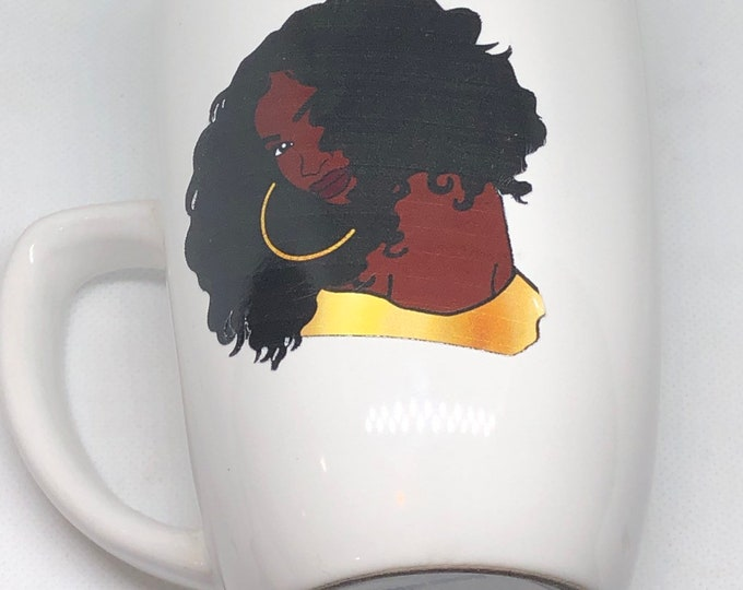 Featured listing image: Afrocentric  Coffee Mug, Afro American Coffee Mug,Black Woman Boss