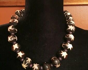 Afrocentric Batik Bead Necklace
