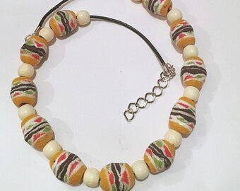 Afrocentric Leather Necklace  African Trade Beads Powdered Glass Beads