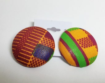 Large Tribal Print Button Earrings