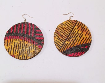 Afrocentric Fabric EarringsFabric Hoop Earrings, Hoop Earrings, Dangle Earrings, Ethnic Earrings,
