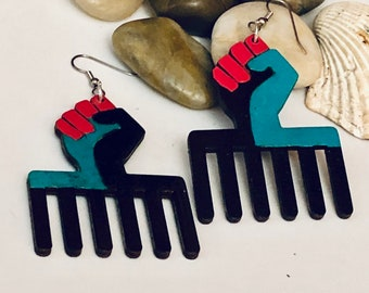 STUD Earrings Power Fist Afrocentric Wood Earring Wood Hoop Earrings, Dangle Earrings, Ethnic Earrings,