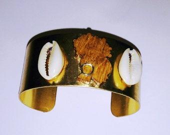 Afro Puff Silhouette Cuff Bracelet