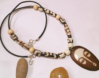 Afrocentric Bone Beads Wood  Beads  Necklace  with Matching Earrings Woman Necklace Nubian Sensations