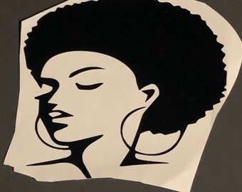 Queen Afro woman, African American Short Locs, Lady in Hat Decal  Afro Lady Decal Tumbler Decal Cup Decal