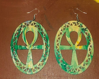 Afrocentric ANKH   Wood Earrings