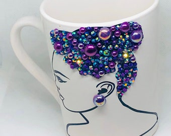 Afrocentric Bling Coffee Mug, Afro American Coffee Mug,Black Woman Boss
