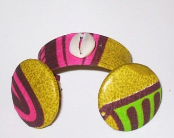 African Fabric  Cuff Bracelet with Matching Earrings,African Accessories  SRAJD
