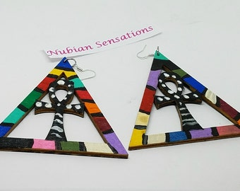 Afrocentric ANKH Shape Inside Pyramid  Wood Earrings