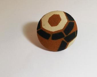 ANKARA Ring AFRICAN FABRIC Button Ring