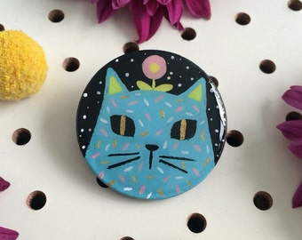 Blue Cat Brooch - Hand Painted Brooch