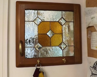 Repurposed Cabinet Stained Glass Key Holder