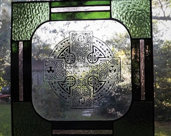 Sage and Wine Etched Celtic Cross