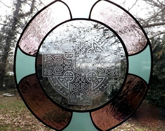 Celtic Cross Stained Glass panel 4