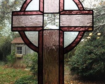 Stained Glass Simple Celtic Cross - Royal Wine