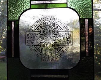 Stained Glass Celtic Cross panel Sage and Wine 2