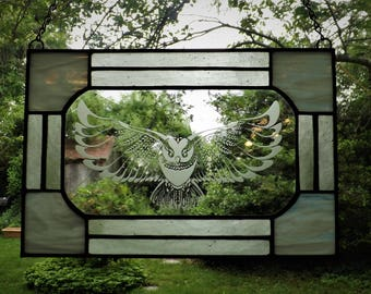 Snowy Owl Etched Stained Glass Hanger A