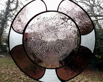 Celtic Cross Stained Glass panel 3