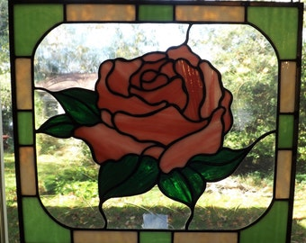 Coral Rose stained glass panel