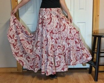 RESERVED Boho Paisley Long Maxi Skirt with Pocket Upcycled Recycled Women Size M-L White and Burgundy