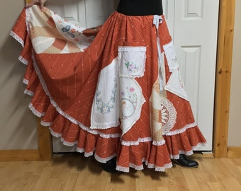 4cd6ccf7a Country Prairie Skirt, Floral Embroidery, Plus Size XL-1X-2X Long Maxi Skirt  with Pockets, Vintage, Peasant, Old Fashioned Clothes Woman's