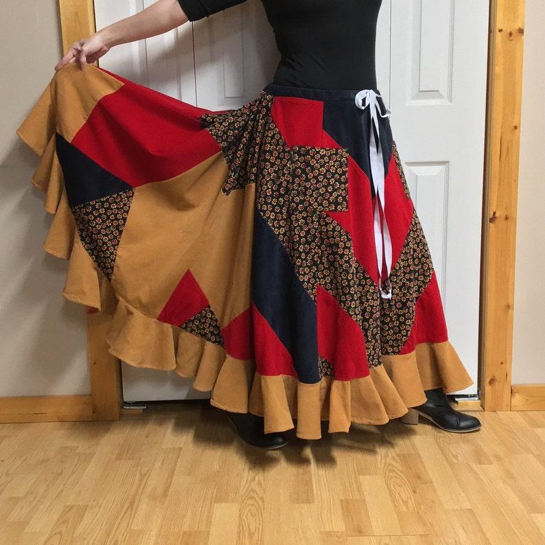 7cbaf0372 Hippie Patchwork Corduroy Skirt Plus Size Peasant Skirt | Etsy