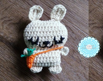 Mini cream bunny tiny carrot bag - cotton amigurumi handmade white beige rabbit plush newborn baby kid boy girl pretend play chew toy gift