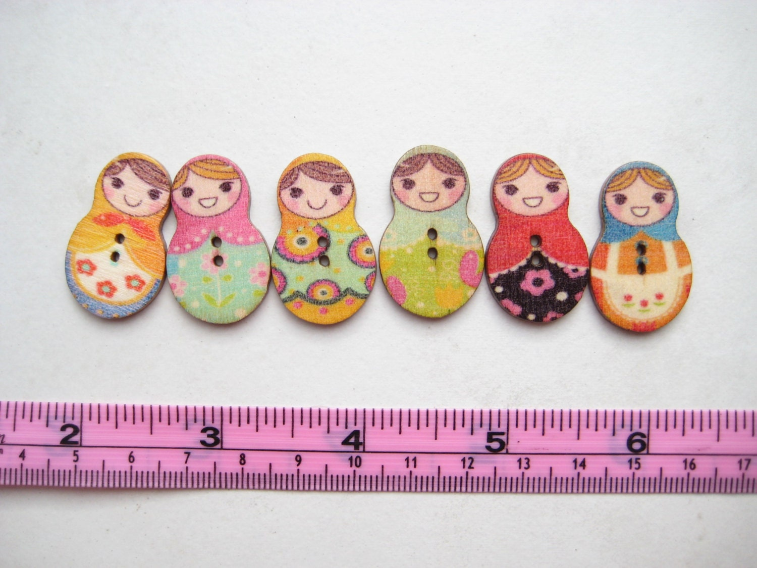 2 Trous 5 Boutons Ronds en Bois Chat Kitty 23mm Couture Scrapbooking