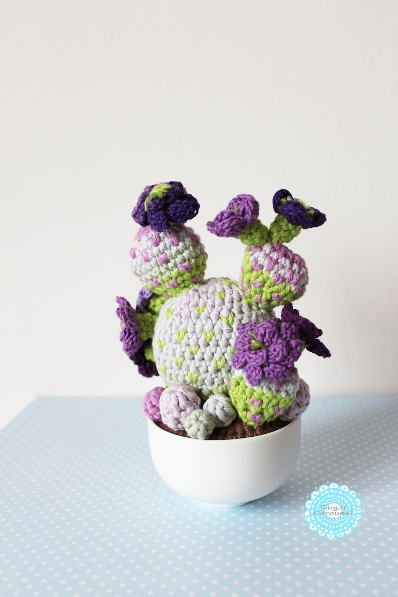 purple lime office fake carefree plant kawaii cute ooak textile home house decor amigurumi Crochet Flower Cactus Fiber Art Soft Sculpture