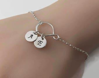 Personalized Sterling Silver Infinity Bracelet, Two initial personalized bracelet, Personalized jewelry, Adjustable bracelet, Infinity love