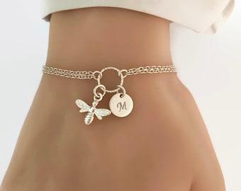 Personalized Bee Bracelet in Sterling Silver - Adjustable Personalized Bee Bracelet
