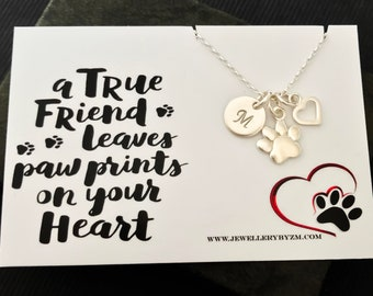 Personalized Paw Necklace, Sterling silver paw print necklace, Dog paw necklace, Pet memorial, Dog memorial, Dog lover gift