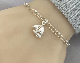 Sterling Silver Sailboat Bracelet - Adjustable Sailing Bracelet