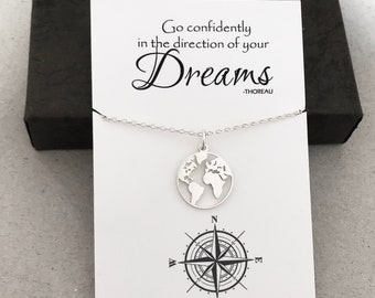 913871c00a2e Sterling Silver Map of the World Necklace