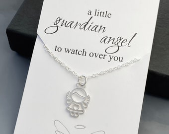 Tiny Guardian Angel Necklace - Sterling Silver Tiny Angel Necklace - Necklace with a Message Card