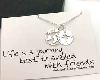 Friendship necklace etsy best friend gift sterling silver compass and world map necklace friendship necklace life is a journey sentiment card gumiabroncs Choice Image