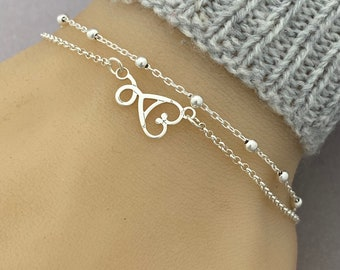 Sterling Silver Stethoscope Bracelet, Adjustable Double Chain Stethoscope Bracelet