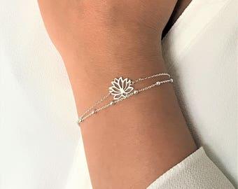 Lotus Flower Bracelet, Layering Lotus Sterling Silver Bracelet, Adjustable Double Chain Lotus Flower Bracelet