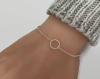 Tiny Circle Bracelet -  Sterling Silver Bracelet - Eternity Bracelet - Karma Bracelet