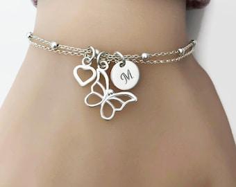 Personalized Butterfly Bracelet in Sterling Silver - Adjustable Butterfly Bracelet