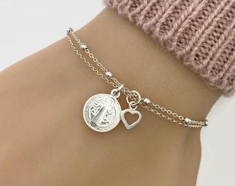 Sterling Silver Saint Benedict Medal Bracelet - Adjustable Bracelet - Protection bracelet