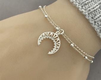 Sterling Silver Crescent Moon Bracelet, Layering Upside Down Moon Bracelet, Adjustable Bracelet