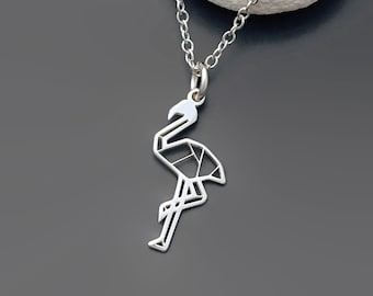Origami Flamingo Necklace in Sterling Silver - Sterling Silver Flamingo Necklace