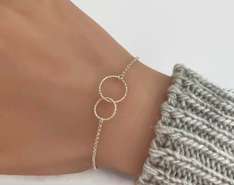 Two Entwined Circles Sterling Silver Bracelet, Anklet - Eternity Bracelet, Karma Bracelet, Friendship bracelet, Bridesmaid gifts