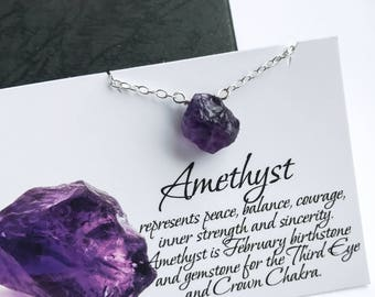 Raw Amethyst Necklace - Rough Amethyst Necklace, February Birthstone, Crown Chakra Stone
